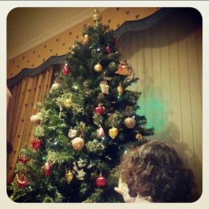 Ante el árbol de Navidad